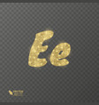 golden shiny letter e on a transparent background vector image