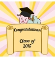 Greeting card with a character and congratulations vector image vector image