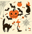 halloween cats and pumpkins trick or treat object vector image vector image