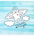 hand drawn cat angel vector image