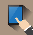 hand of businessman touching blank screen table vector image