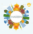 harbin china city skyline with color buildings vector image vector image