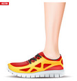 leg with sport sneakers vector image