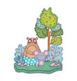 little bear teddy and mouse in the landscape vector image