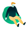 man at bean bag icon isometric style vector image
