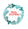 merry christmas wreath with fir branches and red vector image vector image