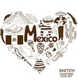 Mexican symbols in heart shape concept vector image vector image