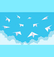 paper planes in blue sky white origami vector image