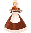 Pilgrim girl with plate vector image vector image
