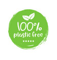 plastic free green icon badge bpa plastic free vector image vector image