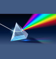 realistic prism light dispersion rainbow vector image vector image