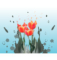realistic tulips spring flower card vector image vector image