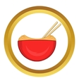 Red bowl of rice with pair icon vector image