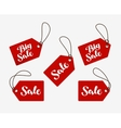 red tag with words sale shopping logo or icon vector image vector image