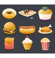 Retro Realistic Cartoon Fast Food Icons and vector image vector image