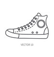 retro travel shoe sneaker line icon summer vector image