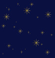 seamless pattern with golden stars on dark blue vector image