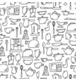 seamless pattern with kitchen appliances in lines vector image vector image