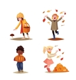 Set of kids enjoying outdoor fall autumn vector image vector image