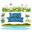 set of lake element vector image