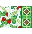 Set of strawberries seamless hand drawn vector image vector image