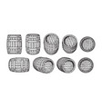 set old wooden barrels in different positions vector image vector image
