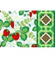 set strawberries seamless hand drawn vector image vector image
