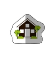sticker house and trees on the sidewalk vector image vector image