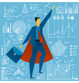 super businessman with charts graphs stats doodle vector image