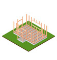 timber frame house base construction design vector image