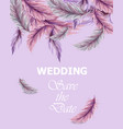 wedding card with feathers invitation vector image vector image