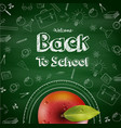 welcome back to school background with red apple vector image vector image