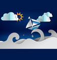 paper cut art of boat sailing in the sea vector image