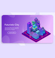 banner isometric futuristic city concept vector image