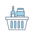 basket shopping with bottles drink products icon vector image vector image