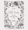black and white invitation card vector image
