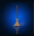broom made from twigs on a long wooden handle vector image