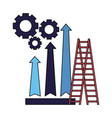 business stairs gears and arrow financial vector image vector image