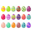 cartoon colorful easter eggs with patterns vector image vector image