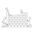 cartoon of group of masons or bricklayers vector image vector image