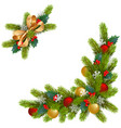 christmas corner decorations vector image vector image