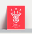 christmas poster with white low poly 3d styled vector image vector image
