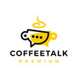 coffee talk chat cup logo icon vector image