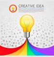 creative idea lamp with rainbow vector image vector image