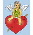 Cupid sitting on red heart vector image vector image