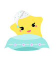 cute baby star with pillow in hight hat vector image vector image