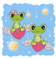 cute lovers frogs vector image vector image