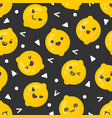 cute smiling lemon fruits seamless pattern vector image vector image