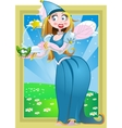 Fairy and frog fairytale landscape vector image vector image