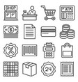 finance and shopping icons set line style vector image vector image